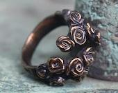 Hedge Rose - Adjustable Spiral Ring in Bronze Silver