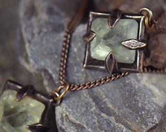 Focus Crystal – Raw Fluorite Octahedron in Bronze