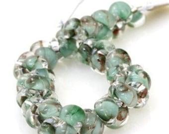 10 Sea Grass 10mm Teardrop Beads - Handmade Lampwork Boro Glass (21812)