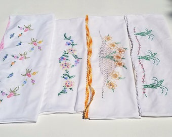 Vintage Embroidered Floral Pillowcases Lot of 4 - Hand Embroidery - Lily of the Valley - Cottagecore