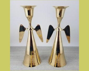 Pair Brass Angel Candlesticks - Candleholders - Taper Holders - Christmas Candlestick - Christmas Brass - Brass Wings - Vintage