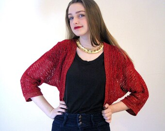 90s Garnet Red Metallic Bolero S, Red & Gold Knit Shrug, Cropped Bolero Sweater, Red Metallic Sweater, Glitzy Bolero, Glam Red Shrug, Small