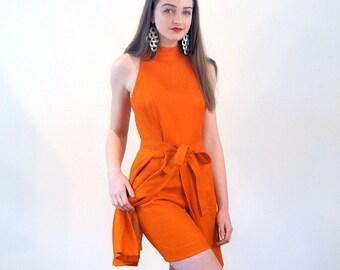 60s Nina Ricci Dress S, Tunic & Shorts Set, Orange Linen Mod Top Shorts, Nina Ricci 2 Piece Suit, 60s Scooter Dress, Designer Vintage Outfit