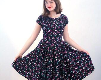 1950s R&K Originals Party Dress S, Mid Century Dress, Black and Pink Floral Dress, Full Skirt Cotton Vintage Dress, Lattice Trim, Small