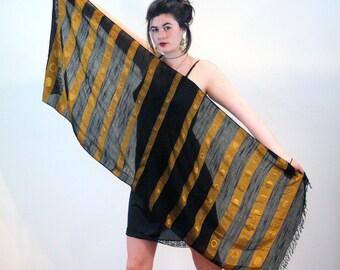 80s Scarf, Black & Bronze Stripe, Metallic Medallion Weave Soft Rayon Long Rectangle Vintage Shawl, Elegant Gold 1980s Fringed Wrap