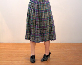 80s Plaid Skirt M, Purple Pleated Schoolgirl Wool Retro Rockabilly Tartan Winter Vintage Skirt, Medium