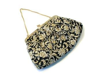 60s Metallic Brocade Purse, Gold Black Glitzy Vintage Floral Jacquard Evening Bag with Goldtone Chain