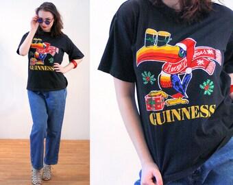 80s Guinness Toucan T-Shirt M, Christmas Beer Holiday Advertising Vintage Irish Stout Animal Bird Graphic Tee, Medium