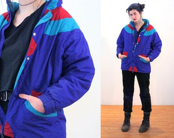 80s Ski Jacket L, Vintage Color Block Puffy Blue Winter Quilted Down Filled Puffer Coat, Large
