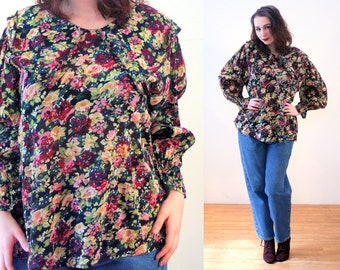90s India Floral Blouse L, Dark Green Flower Print Boho Portrait Collar Romantic Pullover Rayon Cotton Top, Large