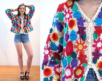 90s Crochet Sweater L, Granny Chic Rainbow Floral Chunky Hand Knit Vintage Colorful Boho Festival Grannie Squares Cardigan, Large