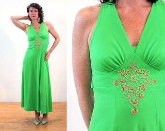 70s Halter Dress S, Lime Green Maxi V Neck Goddess Hippie Boho Bright Vintage Sears Wood Beads, Small