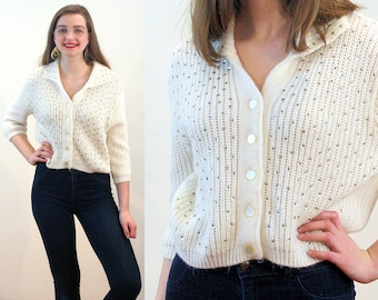 60s Sequin Sweater S, White Beaded Cardigan Vintage Orlon 'British Vogue' Glitzy Party Jumper, Small
