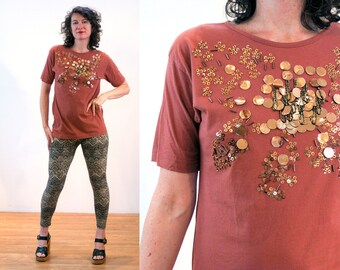 90s Paillettes T-Shirt S, Copper Sequin Metallic Beaded Glam Brown Vintage Fancy Tee Small