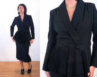 70s Lilli Ann Suit M, 3 Piece Outfit, Black Pleated Belted Jacket with Two Skirts, Day & Evening Vintage Midi Maxi Skirt Suit, Medium