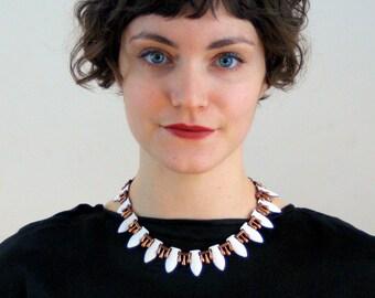 50s Matisse Style Necklace, White Enamel Copper Modernist Vintage Mid Century Teardrop Choker