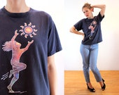 90s Chasing the Sun T-Shirt M L, Hippie Grunge 1993 Vintage Joyful Art Tee, Medium Large