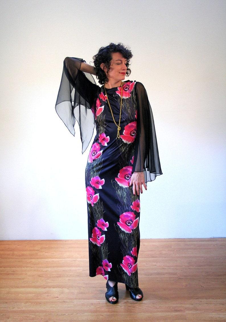 69c8c09884 70s Batwing Sleeve Dress M Floral Vintage Black Pink Maxi