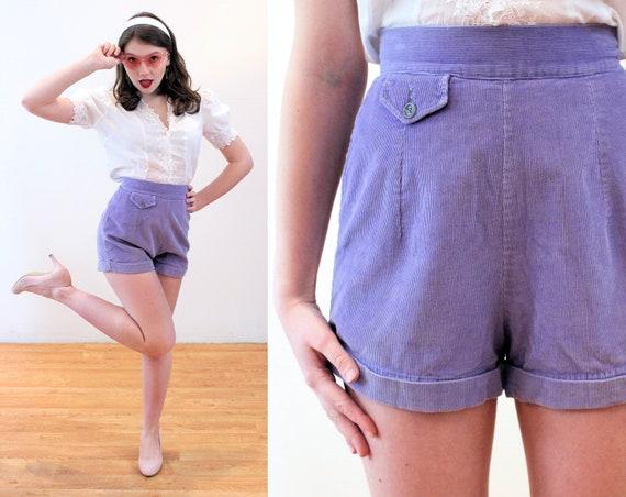 40s Jantzen Shorts XS, Purple Corduroy Cuffed Back