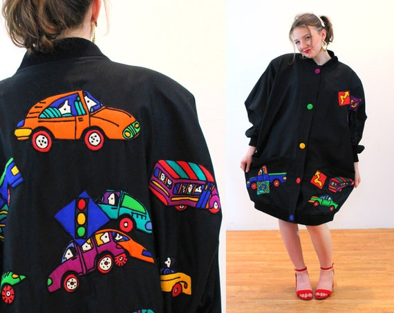 80s Silkscapes Coat S M L, Cars Trucks Driving Whi