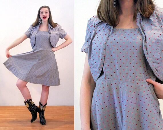 50s Polka Dot Dress Bolero Outfit S, Gray Red Vint