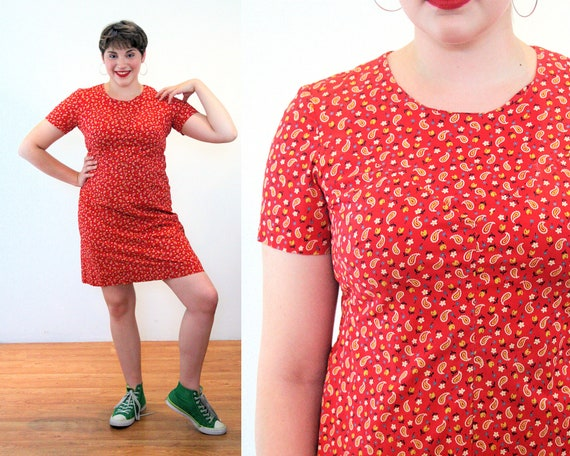 60s Calico Mini Dress M L, Cute Red Ditsy Paisley