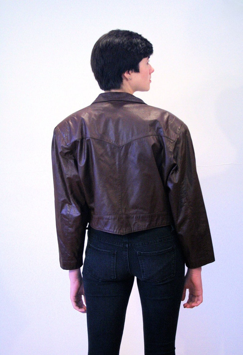 80s Brown Leather Moto Jacket M, Vintage Cropped Bomber Classic 1980s Retro Tiny Fit Motorcycle Zipper Coat, Medium