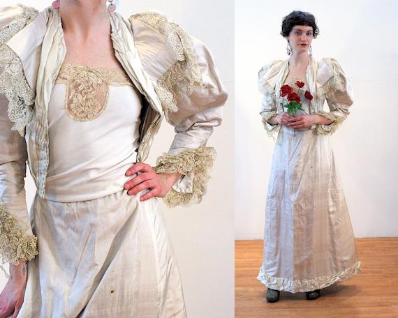1890s Wedding Dress XXS, Antique Victorian White S