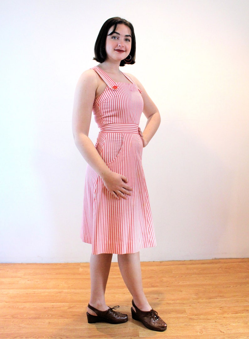 70s Candy Stripe Overalls Dress S Small Red White Vintage Suspenders Sundress