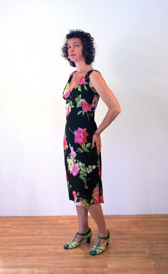 90s Rose Print Floral Dress S, Romantic Black Pin… - image 2