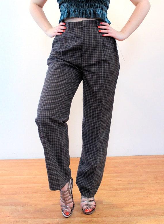 80s Wool Plaid Pants 30 x 32, Deadstock Vintage G… - image 5
