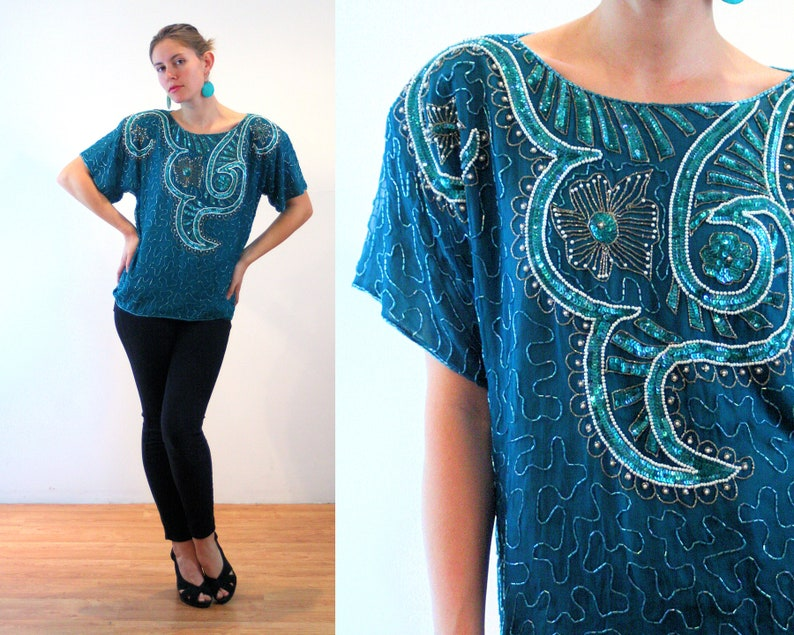 47f0e352cdb 80s Silk Beaded Top M L, Green India Sequin Glam Flapper Art Deco Vintage  Party Blouse, Medium Large