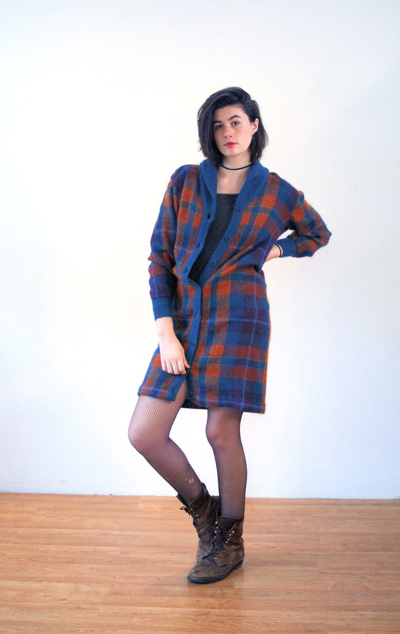 661c3132273 70s Missoni Sweater Dress M Mohair Plaid Blue Orange Long