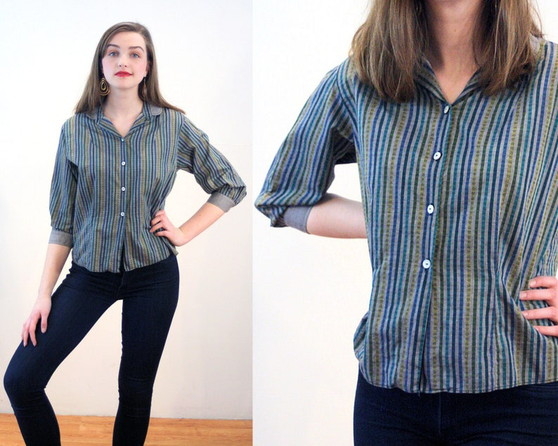 c1fae674c1bd40 50s Striped Heart Print Blouse S Gray Chartreuse Green