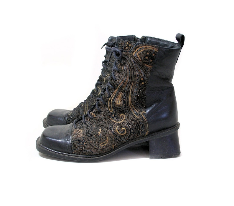 90s Naot Ankle Boots Euro 38 Usa 75 Gold Paisley Black Etsy