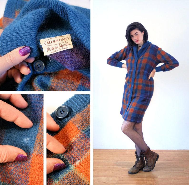 8048785a4a 70s Missoni Sweater Dress M Mohair Plaid Blue Orange Long
