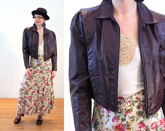 80s Leather Jacket S, Dark Brown Moto Vintage Cropped Zipper Rock Hipster Motorcycle, Small