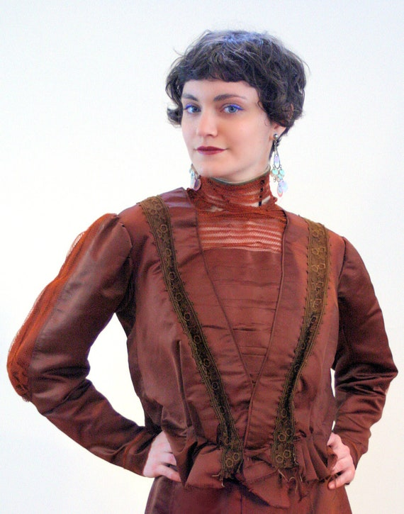 1890s Antique Victorian Dress S, Brown Copper Sil… - image 7
