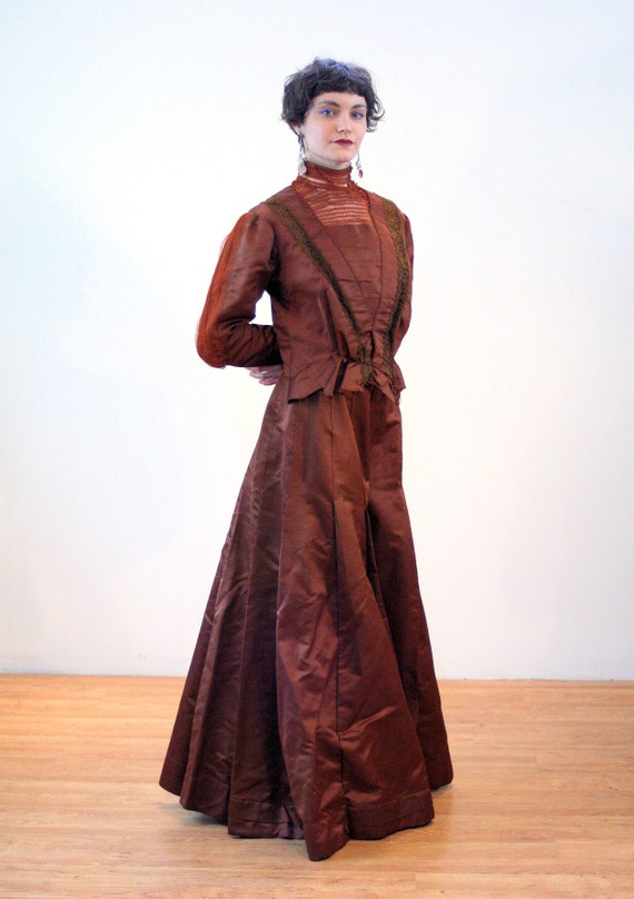 1890s Antique Victorian Dress S, Brown Copper Sil… - image 3
