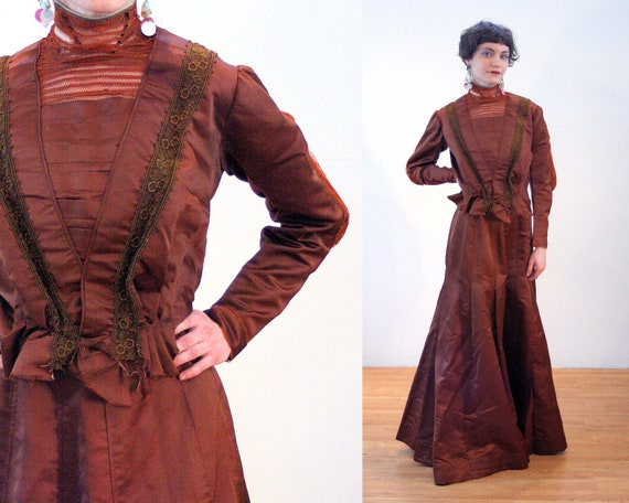 1890s Antique Victorian Dress S, Brown Copper Sil… - image 1