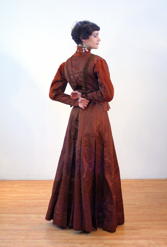 1890s Antique Victorian Dress S, Brown Copper Sil… - image 4
