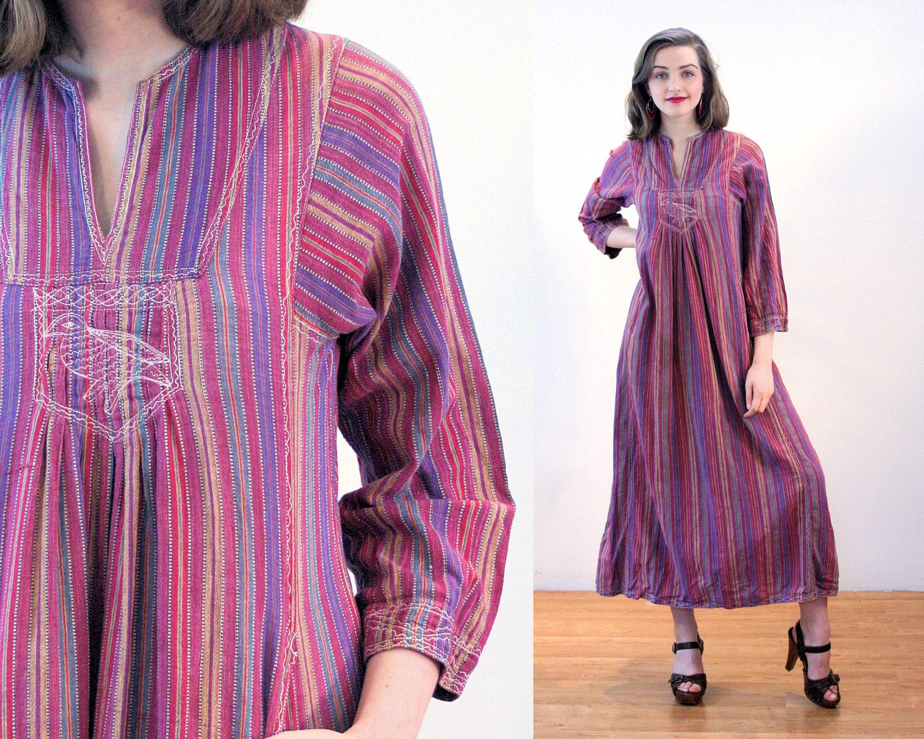 70s Pakistan Hippie Dress S Vintage Purple Striped Etsy