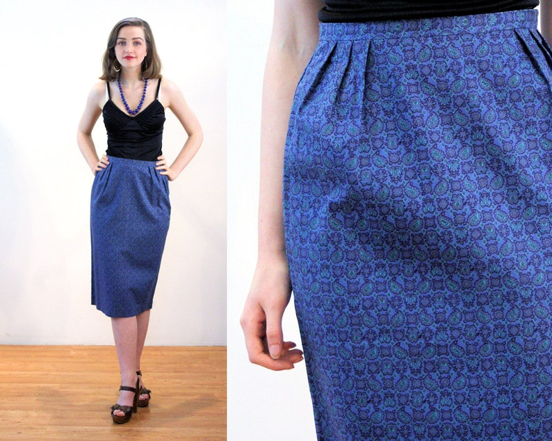 60s Blue Pencil Skirt S, Cotton Geometric Paisley Print Vintage Wiggle Fitted Narrow Secretary, Small