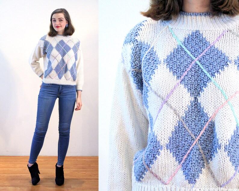 80s Argyle Sweater M, Blue White Vintage Mock Turtleneck Pastel Ramie  Acrylic Korea Pullover Preppy Jumper, Medium