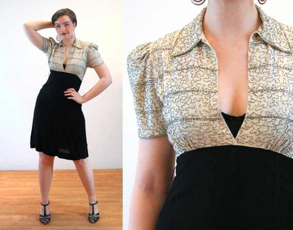 40s Beaded Cocktail Dress S, Vintage 30s 1940s Two