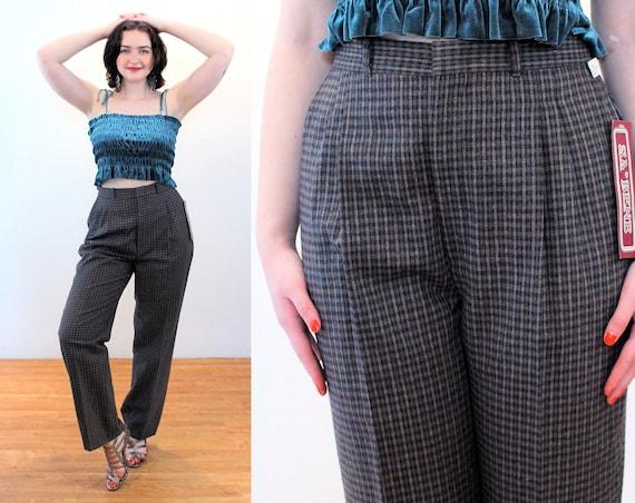 80s Wool Plaid Pants 30 x 32, Deadstock Vintage G… - image 1
