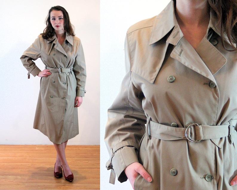 4add48674 80s London Fog Coat M P, Classic Trench Belted Tan Vintage Waterproof All  Weather Raincoat, 10 Petite Medium