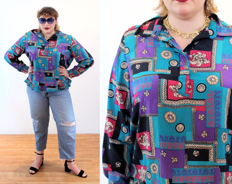 2XL 90s Baroque Print Top XXL Silky Teal Purple Vintage Alfred Dunner Pullover Shirt
