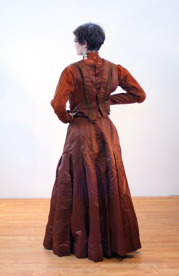 1890s Antique Victorian Dress S, Brown Copper Sil… - image 5