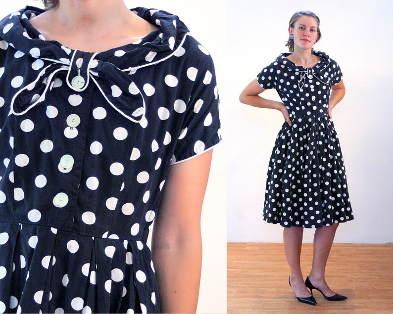 fb5cb3416749 50s Polka Dot Dress S Black White Dotted Cotton Rockabilly | Etsy